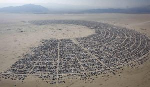 An aerial view of the Burning Man arts and music festival