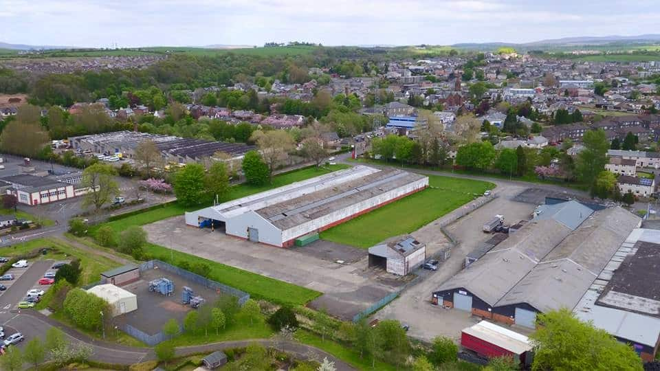 aerial video footage with drone used to capture factory in Glasgow