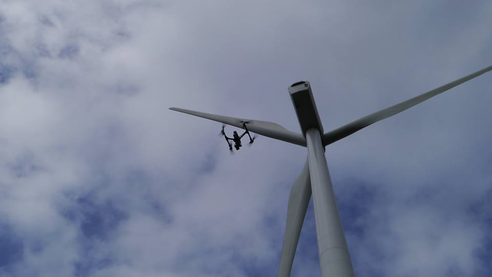 using drones to view and check wind farms