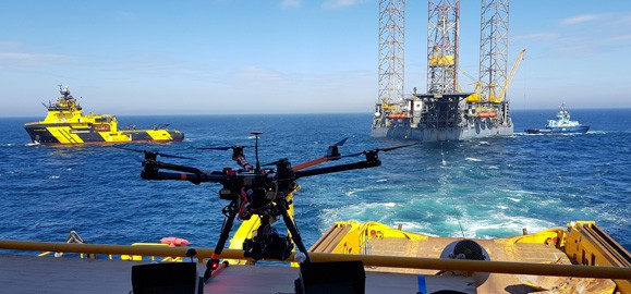 drone inspection of oil platform
